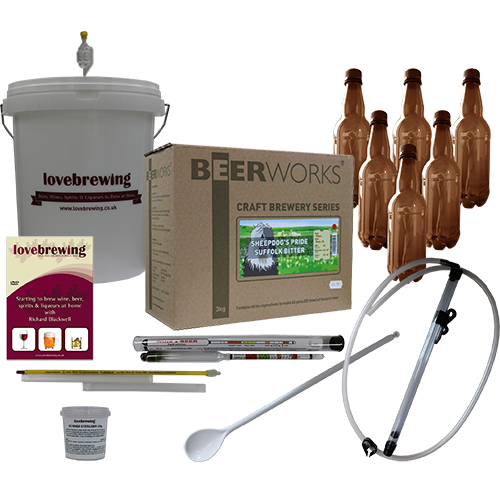 Beerworks Superior Beer Making Starter Bundle with Bottles